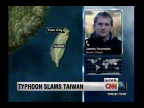 CNN Broadcast in Taiwan Typhoon News CNN播報台灣蘇拉颱風新聞