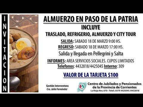Invitación Del Centro De Jubilados Al Almuerzo En Paso De La Patria
