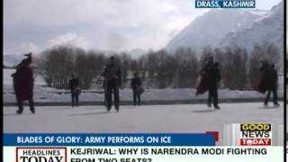 Indian Army band performs while skating on ice