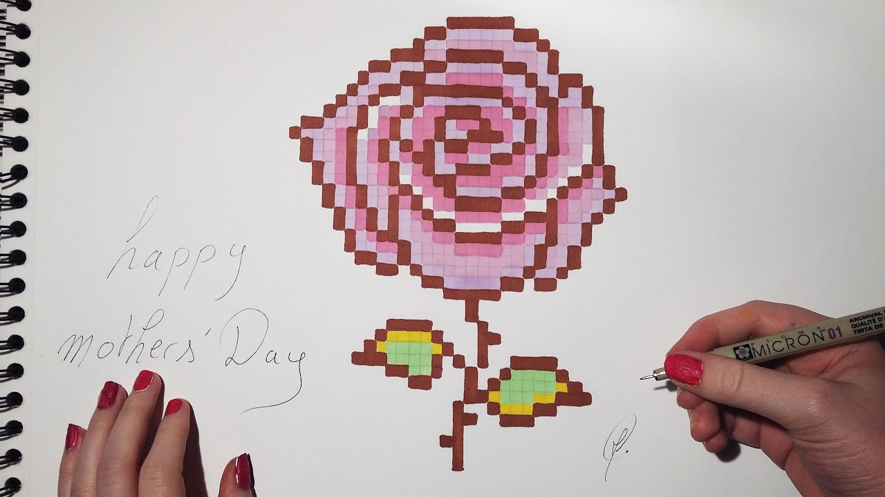 Mothers Day Rose Drawing Pixel Art