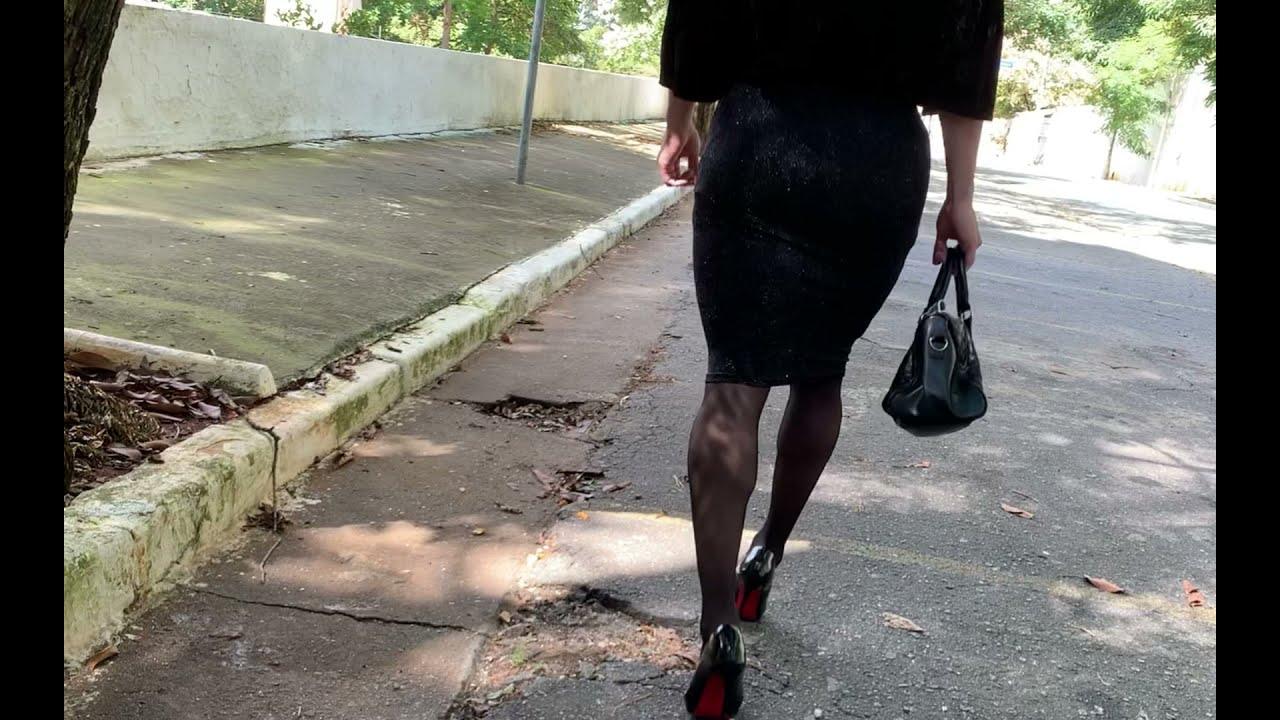 Crossdresser outdoor walk in sexy outfit and high heels
