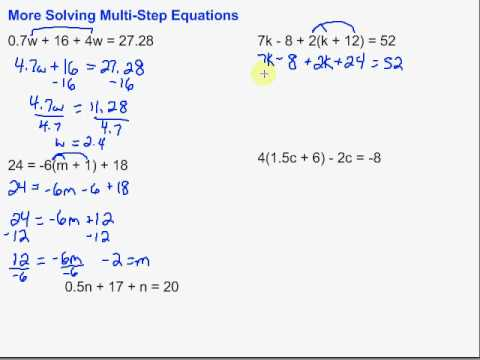 More Solving Multistep Equations  Youtube