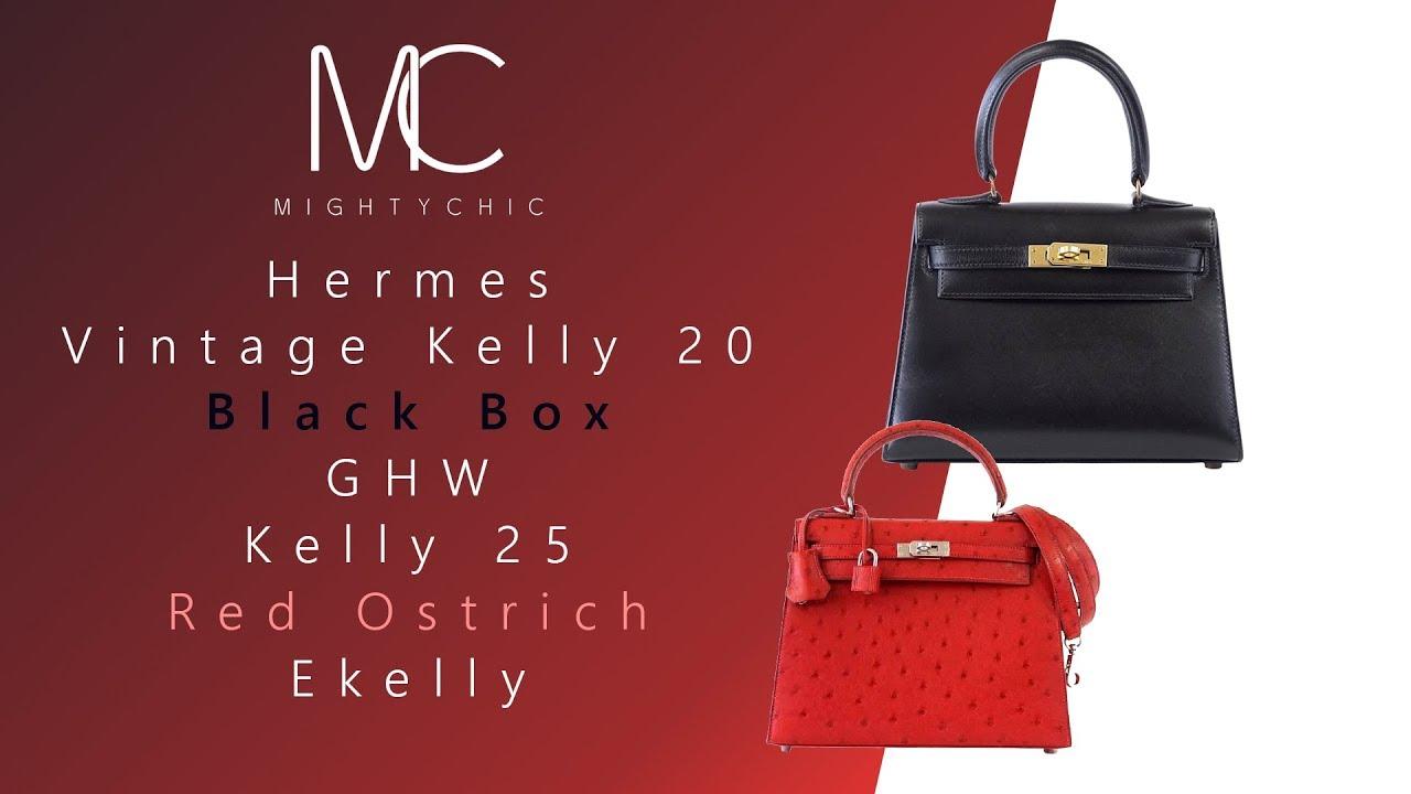 e49b480f2c83 MIGHTYCHIC • Hermes Vintage Kelly 20 Black Box GHW Hermes Kelly 25 Red  Ostrich Ekelly