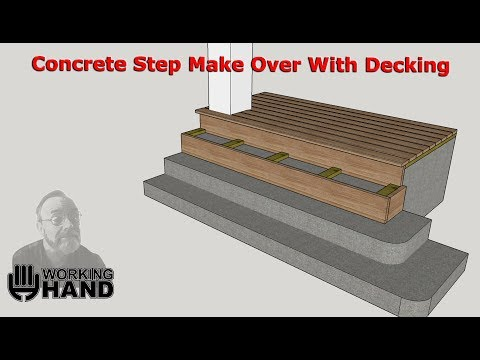 Concrete Step Make Over With Wood Decking Youtube   Putting Wood Over Concrete Steps   Wood Flooring   Front Porch   Building   Flooring   Composite Decking