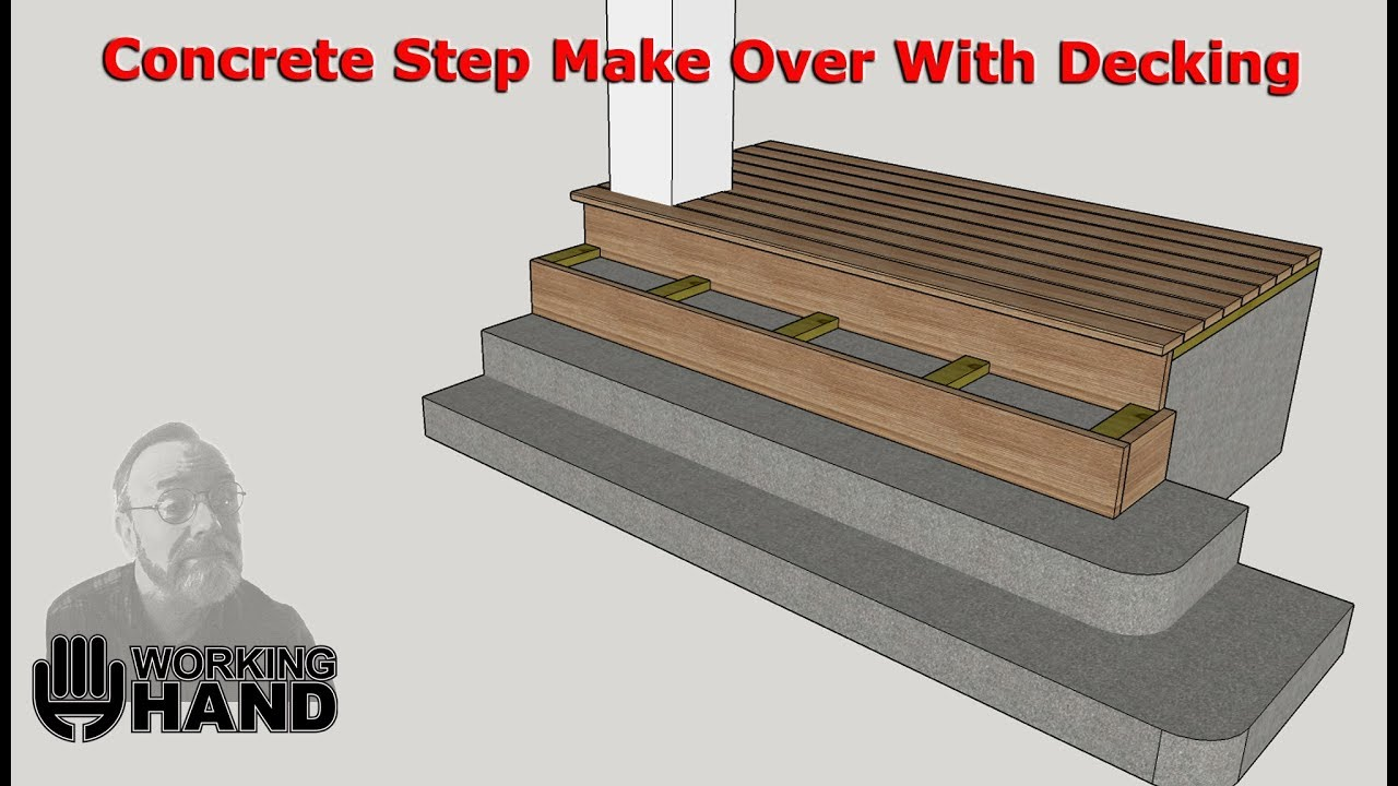 Concrete Step Make Over With Wood Decking Youtube   Wood Over Concrete Steps   Building   Stair Stringers   Concrete Patio   Concrete Porch Makeover   Composite Decking