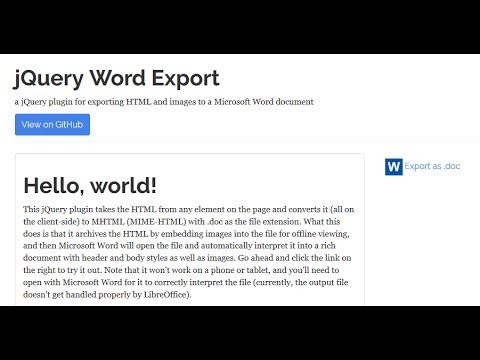 Export HTML and Images to Microsoft Word ( doc) Using jQuery