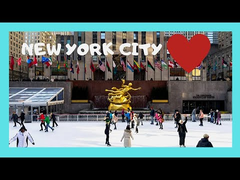 NEW YORK CITY: World-famous ICE SKATING RINK at ROCKEFELLER PLAZA CENTER (USA)