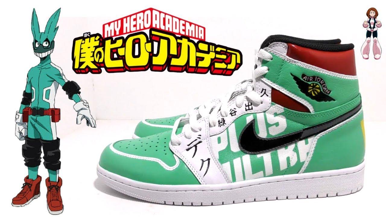 d79c08665abe My Hero Academia Izuku Midoriya Air Jordan 1 Custom