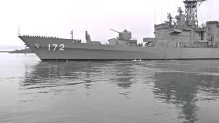 海上自衛隊JMSDF DDG172護衛艦しまかぜ Simakaze 出港 出港用意ラッパ~汽笛~帽ふれ 2015年6月14日 宮崎港