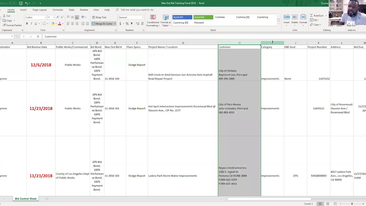 creating a quick bid tracking spreadsheet construction