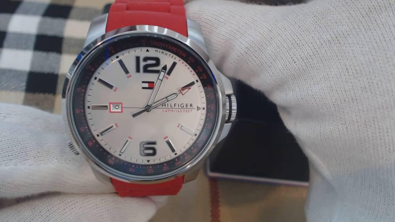 17d771b7f Men's Tommy Hilfiger Cool Sport Red Silicone Watch 1791219 - YouTube