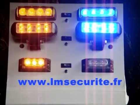 2 FEUX DE PENETRATION 12W LED FLASHCAR RAMPE GYROPHARE ORANGE BLEU BLANC ROUGE