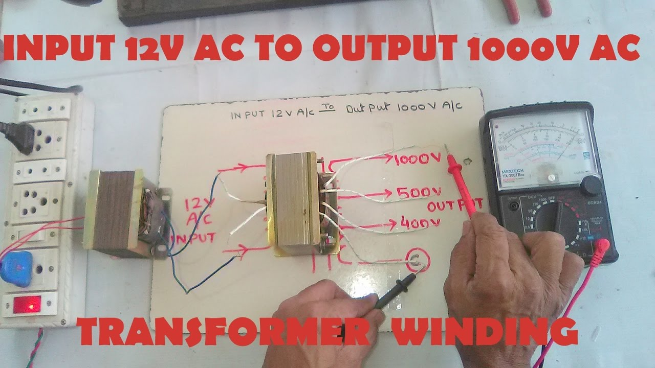 input 12v ac to output 1000v ac step up transformer winding easy at home yt 43 [ 1280 x 720 Pixel ]