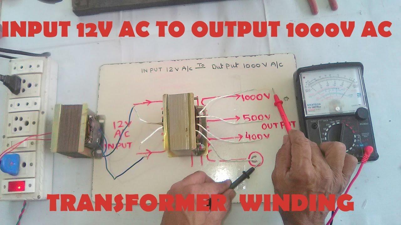 medium resolution of input 12v ac to output 1000v ac step up transformer winding easy at home yt 43