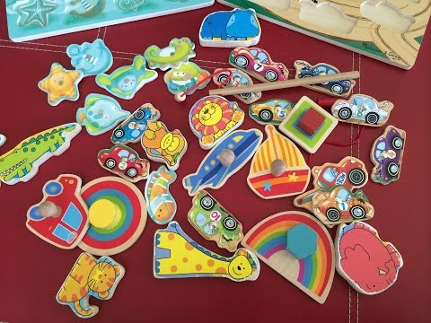 5 Different Wooden Puzzles 4 Toddlers: Magnetic fishing, towing, animals, vehicles, shapes