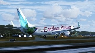 FSX [HD] - Carribean Airlines 737-800 Approach to Trinidad and Tobago