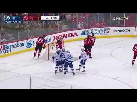 Mikhail Sergachev another assist on Ondrej Palat goal vs Devils (2017)