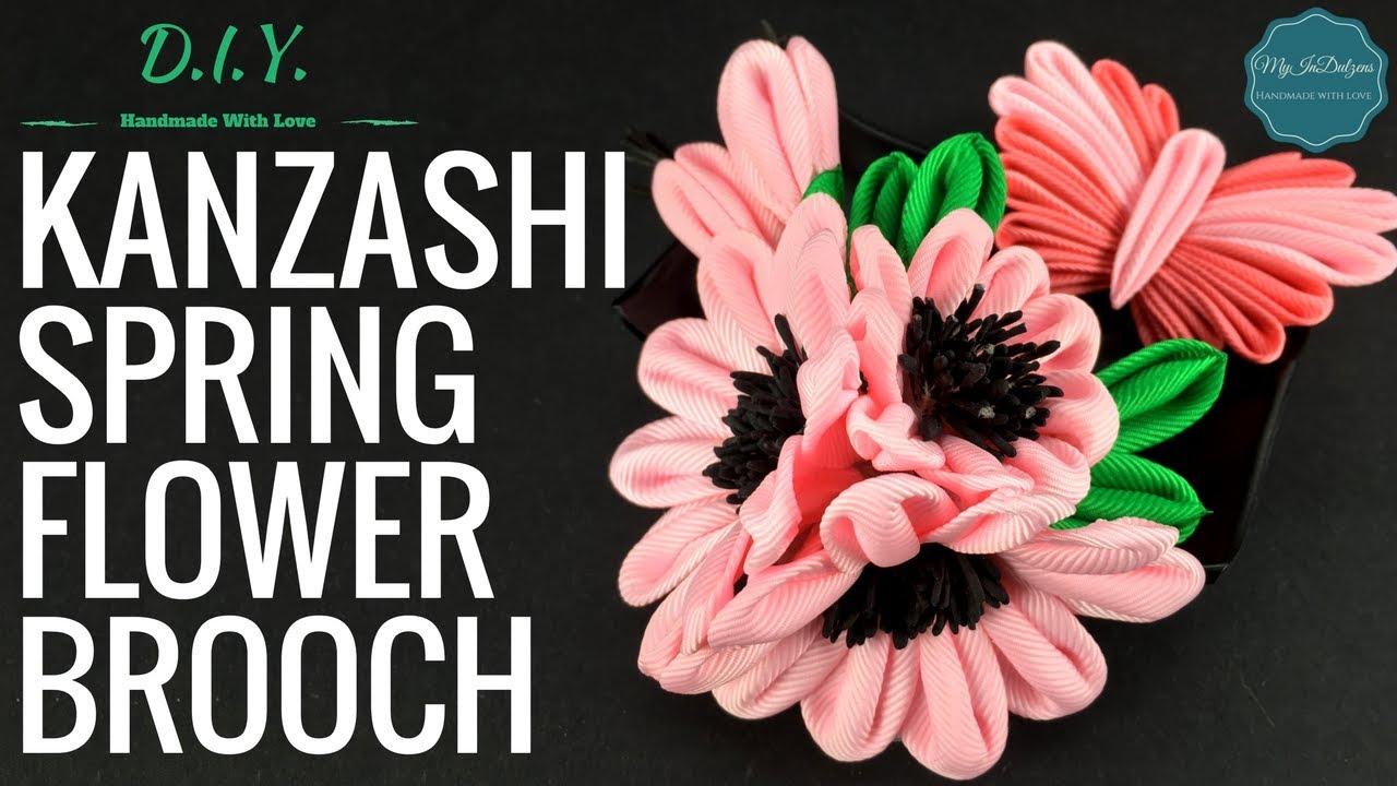 D I Y Kanzashi Spring Flower Brooch Myindulzens Youtube