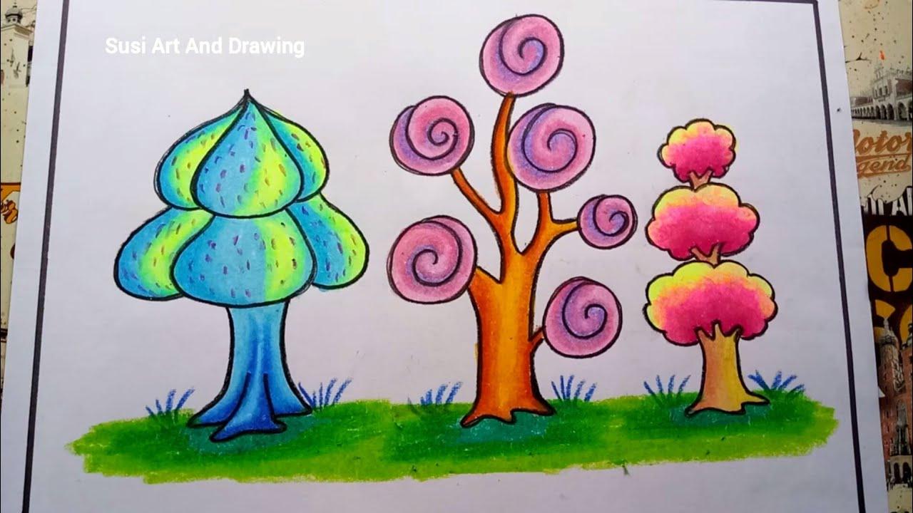 Cara Menggambar Dan Mewarnai Gradasi Pohon Dengan Crayon Oilpastel Drawing Tree