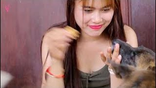 Amazing Girl A lady and Dogs | Cute Girl Cook Egg For Food Dog in Home