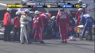 Denny Hamlin Fontana Wreck at the Finish - Joey Logano wrecks Hamlin