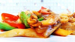 Китайская кухня. Вешенки жареные с овощами.