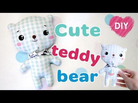 DIY kawaii teddy bear. How to sew a teddy bear + free pattern.