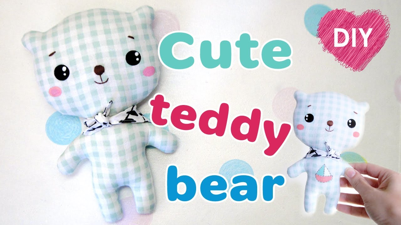 DIY kawaii teddy bear. How to sew a teddy bear + free pattern. - YouTube