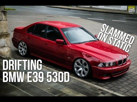 "Garcia drifting slammed BMW e39 530d red on 19"" style 121 wheels"
