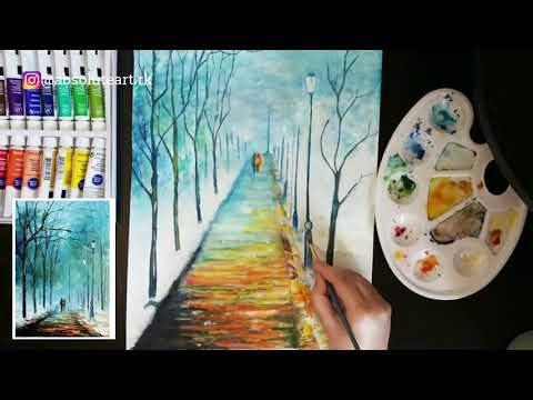 Watercolor painting | Inspired from Leonid Afremov | art tutorial thumbnail