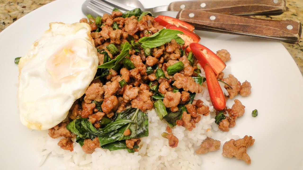 Thai Basil and Pork or Pad Kra Pao Moo ผัดกระเพาหมู