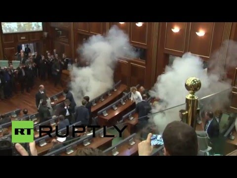 Serbia: Tear gas fills Kosovo parliament ahead of Serbia and Montenegro deal talks