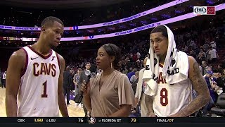 Rodney Hood, Jordan Clarkson catch up with Angel after team's first road win | CAVS-SIXERS POSTGAME