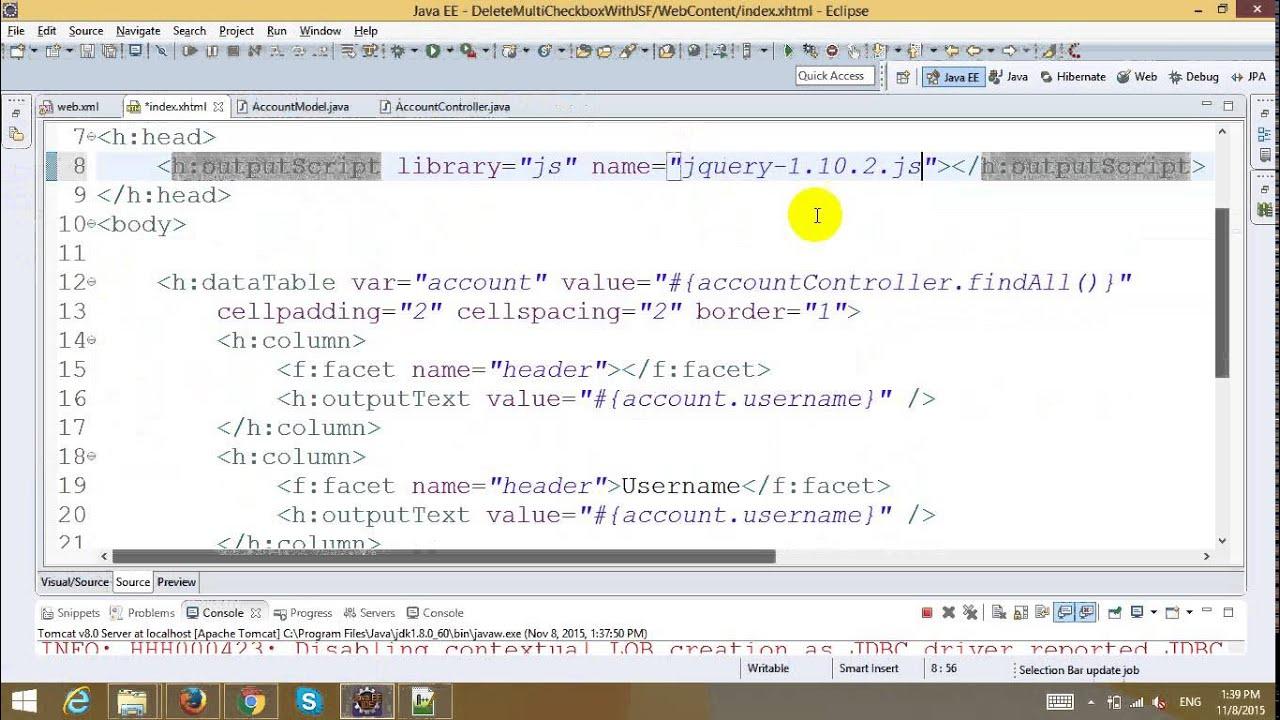 Delete Multiple Rows using Checkbox in JSF and Hibernate