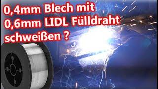Dünnblech schweißen mit 0,6mm Fülldraht - Lidl Fülldrahtschweißgerät vs  Weldinger me 180mini