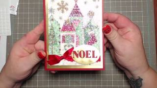Christmas card using napkins and glitter