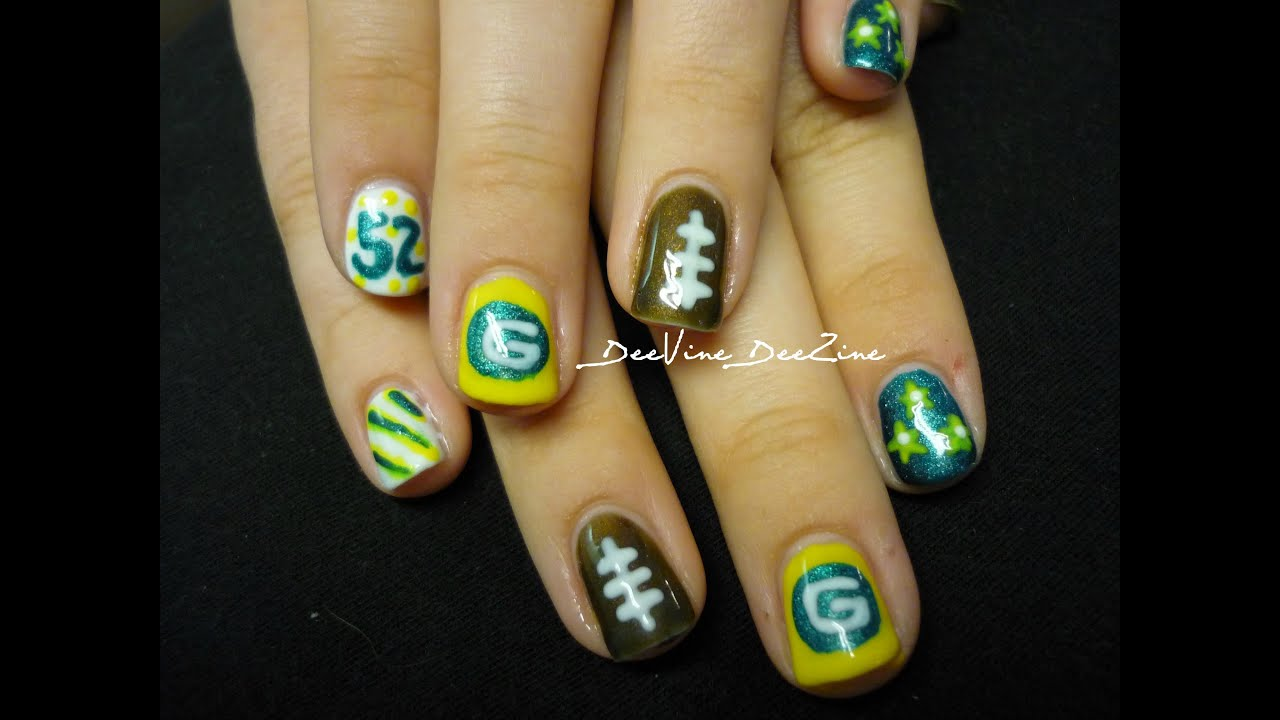 Green Bay Packers Nail Art (with Sensationail) - YouTube