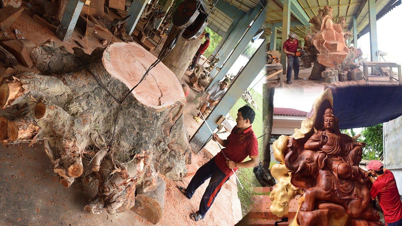 Đục pho tượng gỗ Phổ HIền Bồ Tát cao 3m | Nghệ nhân Âu Lạc 1