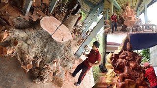 How Asian craftsmen sculpture Buddha ride his  Elephant - amazing wood carving