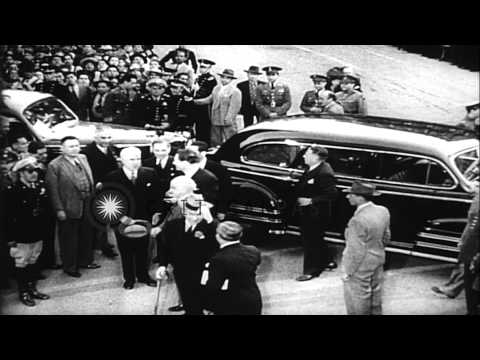 United States Secretary of State Stettinius and Nelson Aldrich Rockefeller attend...HD Stock Footage