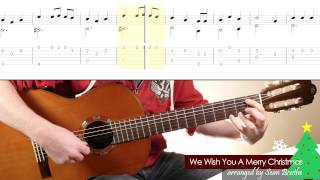'We Wish You A Merry Christmas' - easy guitar arrangement with score and TAB