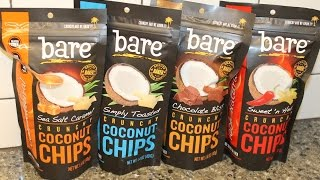Bare Crunchy Coconut Chips Sea Salt Caramel, Simply Toasted, Chocolate Bliss, Sweet 'n Heat Review