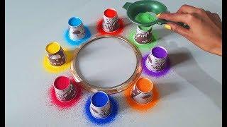Top Tea Cup Rangoli जो आप भी बना लेंगे अब ये प्लास्टिक गिलास से बना लो रंगोली आसानी से by Radhika