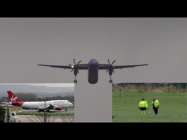 Dash 8 GO AROUND due to Boeing 747 on the Runway at Manchester Airport! | JETBLAST DANGER?