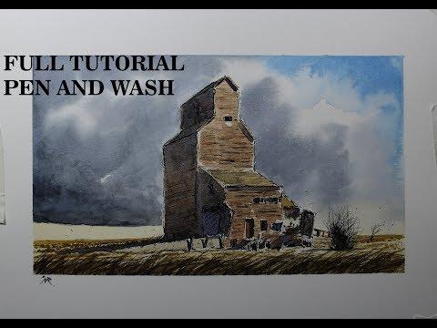 Pen and wash Old Wooden Grain Silo,minimum mix color,watercolor.Nil Rocha
