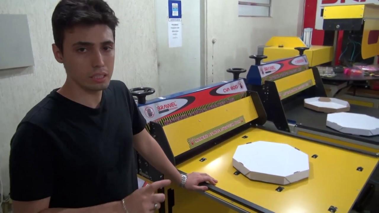 90ea487c4 Máquina Corte e Vinco CVA Caixa de Pizza - YouTube