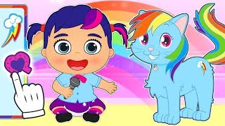 BABY PETS 🌈 Kira and Max Dress up as a Rainbow Pony Character | Educational Videos for Children