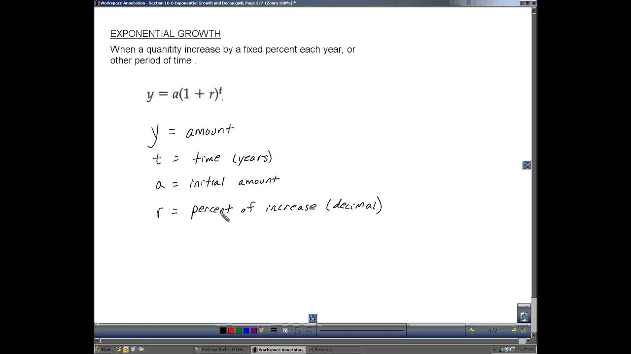 Algebra 2 Section 10 6 Exponential Growth and Decay YouTube – Exponential Growth Decay Worksheet