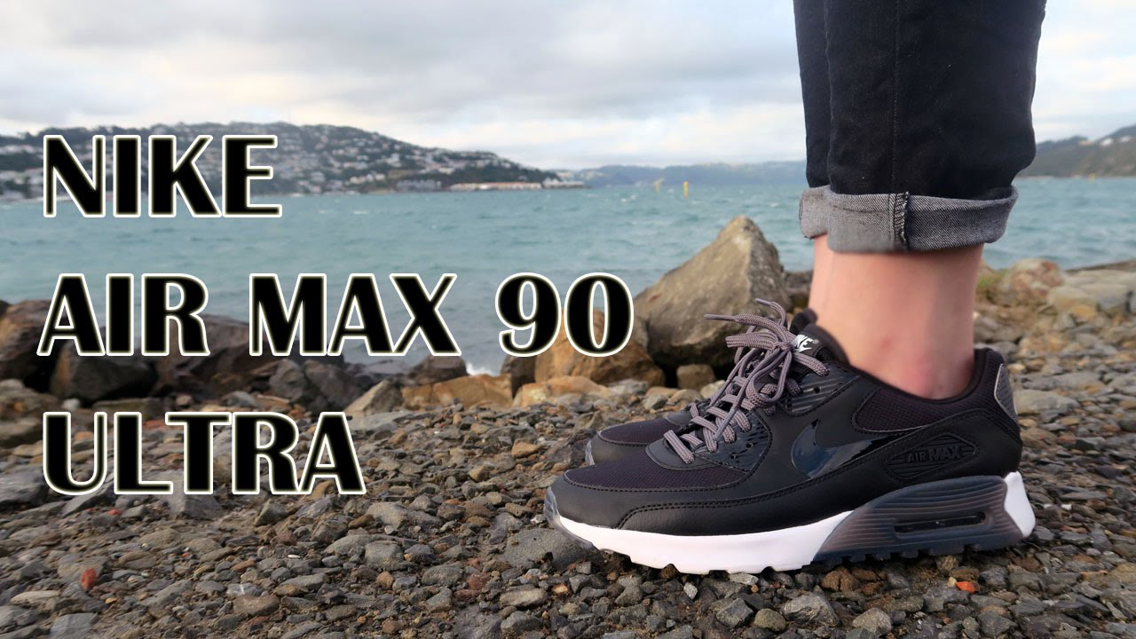 new style 85871 cc372 WOMEN S NIKE AIR MAX 90 ULTRA ESSENTIAL   Black Dark Grey Pure  Platinum White - YouTube