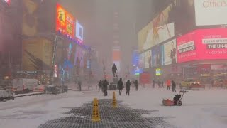 New York grapples with snow during winter storm 2017 Video